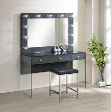 935924-23 3 pc Latitude run azazel grey high gloss finish wood make up bedroom vanity set with light up mirror