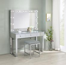 935934-33 3 pc Latitude run azazel silver metal and mirror make up bedroom vanity set with light up mirror