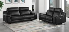 Homelegance 9360BLK-2PC 2 pc Antonio black top grain leather match sofa and love seat set power recliner ends