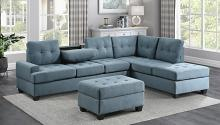 Homelegance 9367BU*SC 2 pc Wildon home fossil blue textured fabric sectional sofa with reversible chaise drop down tray back