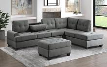 Homelegance 9367DG*SC 2 pc Wildon home fossil dark gray textured fabric sectional sofa with reversible chaise drop down tray back