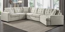 Homelegance 9401BEG-42LRU 4 pc Logansport beige chenille fabric sectional sofa set pop up chaises