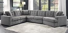 Homelegance 9401GRY-42LRU 4 pc Logansport brown grey chenille fabric sectional sofa set pop up chaises