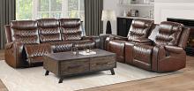 Homelegance 9405BR-2PC 2 pc Putnam brown polished microfiber motion sofa and love seat set