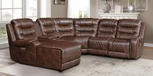 Homelegance 9405BR-6LCRR 6 pc Putnam brown polished microfiber sectional sofa with power recliners and chaise
