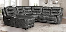 Homelegance 9405GY-6LCRR 6 pc Putnam gray polished microfiber sectional sofa with power recliners and chaise