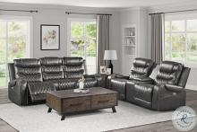 Homelegance 9405GY-2PC 2 pc Putnam grey polished microfiber motion sofa and love seat set