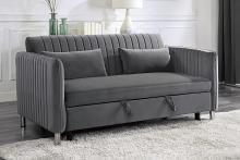 Homelegance 9406BRG-3CL Winston porter Strader brown gray velvet fabric sofa with pop up sleep area and fold down back