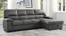 Homelegance 9407DG-2RC3L 2 pc Michigan dark gray faux suede fabric sectional sofa with right storage chaise