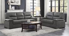 Homelegance 9407DG-2PC 2 pc Michigan dark gray faux suede fabric sofa and love seat set