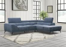 9409BUE Winston porter medora blue fabric sectional sofa with RAF chaise