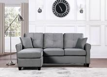 9411GY-3SC Winston porter medora gray velvet fabric reversible sectional sofa
