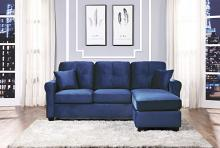9411NV-3SC Winston porter medora navy blue velvet fabric reversible sectional sofa