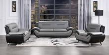 Homelegance 9419-2pc 2 pc Matteo black and gray faux leather sofa and love seat set with chrome legs