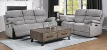Homelegance 9422FS-2PWH 2 pc Sherbrook gray chenille fabric power motion sofa and love seat set recliner ends
