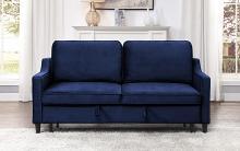 Homelegance 9428NV-3CL Winston porter Adelia navy velvet fabric sofa with pop up sleep area and fold down back