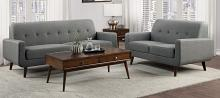 Homelegance 9433GY-SL 2 pc Fitch mid century modern gray fabric sofa and love seat set with curved arms