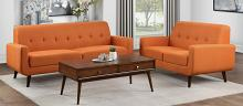 Homelegance 9433RN-SL 2 pc Fitch mid century modern orange fabric sofa and love seat set with curved arms
