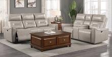 Homelegance 9446CB-2PC 2 pc Burwell cobblestone premium faux leather sofa and love seat with power recliner ends