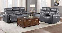 Homelegance 9446GY-2PC 2 pc Burwell gray premium faux leather sofa and love seat with power recliner ends