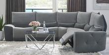 Homelegance 9459GY-5SCPW 5 pc Helix grey velvet fabric sectional sofa with power recliners