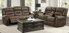 Homelegance 9467BR-2PC 2 pc Creighton brown polished microfiber sofa and love seat nail head trim