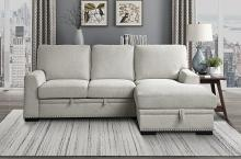 Homelegance 9468BE-2RC2L 2 pc Morelia beige chenille fabric sectional sofa with storage chaise and pop up sleep area