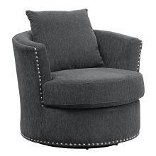 Homelegance 9468CC-1 Beverly Tolani charcoal chenille fabric barrel back round swivel chair nail head trim