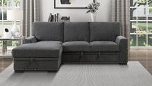 Homelegance 9468CC-2LC2R 2 pc Morelia charcoal chenille fabric sectional sofa with storage chaise and pop up sleep area