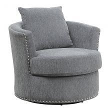 Homelegance 9468DG-1 Beverly Tolani grey chenille fabric barrel back round swivel chair nail head trim