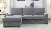 Homelegance 9468DG-2LC2R 2 pc Morelia light grey chenille fabric sectional sofa with storage chaise and pop up sleep area