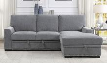 Homelegance 9468DG-2RC2L 2 pc Morelia light grey chenille fabric sectional sofa with storage chaise and pop up sleep area