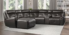 Homelegance 9469DBR-6LCRR 6 pc Avenue six dark brown faux leather sectional sofa with chaise and recliners