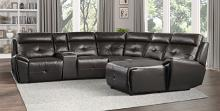 Homelegance 9469DBR-6LRRC 6 pc Avenue six dark brown faux leather sectional sofa with chaise and recliners