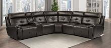 Homelegance 9469DBR-6LRRR 6 pc Avenue six dark brown faux leather sectional sofa with recliners