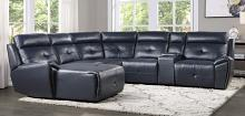 Homelegance 9469NVB-6LCRR 6 pc Avenue six navy blue faux leather sectional sofa with chaise and recliners