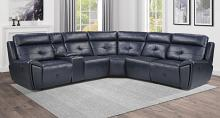 Homelegance 9469NVB-6LRRR 6 pc Avenue six navy blue faux leather sectional sofa with recliners