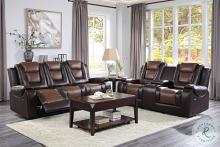 Homelegance 9470BR-2PC 2 pc Briscoe two tone brown premium faux leather motion sofa and love seat set