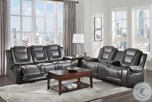 Homelegance 9470GY-2PC 2 pc Briscoe two tone gray premium faux leather motion sofa and love seat set