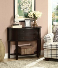 950156 Espresso finish wood hall console / sofa table with lower shelf and two storage drawers