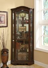 950175 Rich brown finish wood corner curio glass front cabinet with glass shelves and rounded top