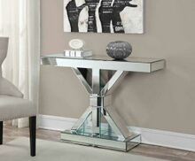 Mirror paneled hall console table with x shaped base and pedestal