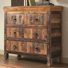 Reclaimed wood finish 4 drawer hall chest dresser transitional style with 4 drawers