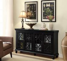 950639 Darby home co caro antique black finish wood console server buffet cabinet