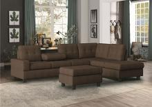 HE-9507CHC-3PC 3 pc Maston chocolate fabric reversible sectional sofa set storage ottoman