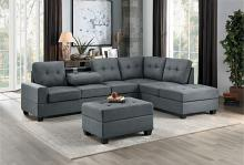 HE-9507DGY-3PC 3 pc Maston dark gray fabric reversible sectional sofa set storage ottoman
