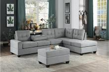 HE-9507GRY-3PC 3 pc Maston gray fabric reversible sectional sofa set storage ottoman