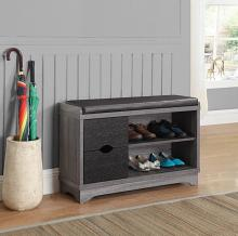 "950921 Loon peak 36"" black and grey finish wood bedroom entry shoe storage bench"