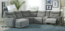 Homelegance 9509DG-65LRR 6 pc Tesoro dark gray textured fabric sectional sofa with recliners and chaise