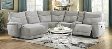 Homelegance 9509MGY-65LRR 6 pc Tesoro mist gray textured fabric sectional sofa with recliners and chaise